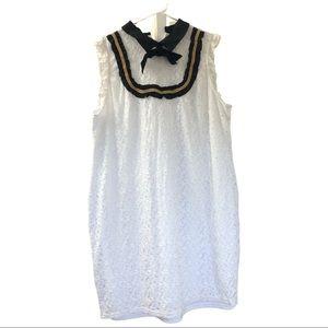 Eloquii White Lace Bib Front Shift Dress